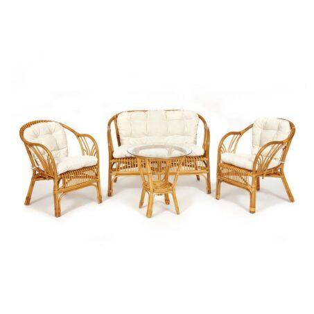 КОМПЛЕКТ » NEW BOGOTA » ( диван + 2 кресла + стол со стеклом ) /с подушками/